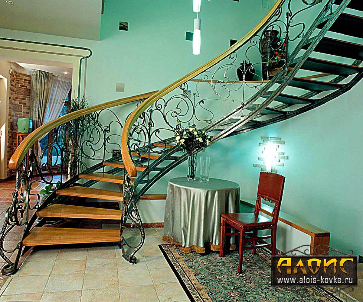 Дизайнерские кованые лестницы в интерьере